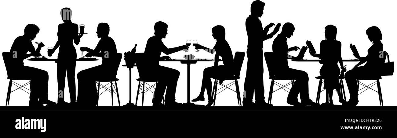 separate people. stock vector - silhouette illustration of people dining in a busy restaurant with all figures as separate objects o