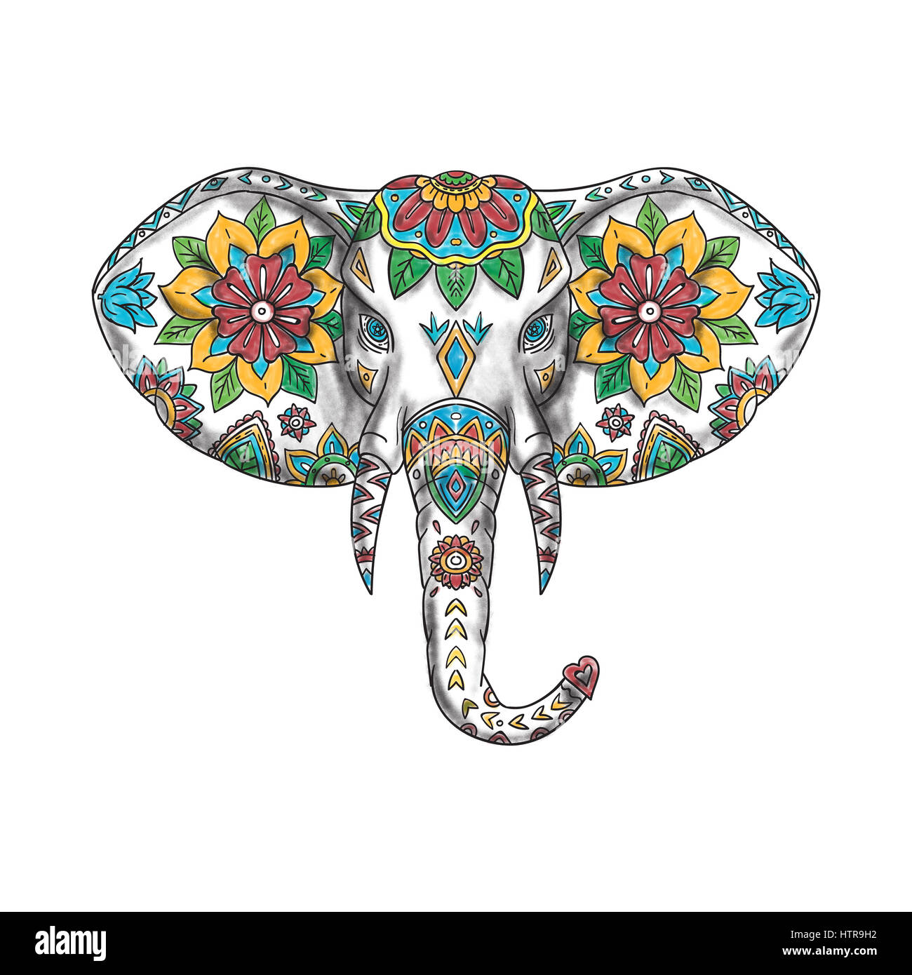 Tattoo Style Illustration Of An Elephant Head Viewed From Front