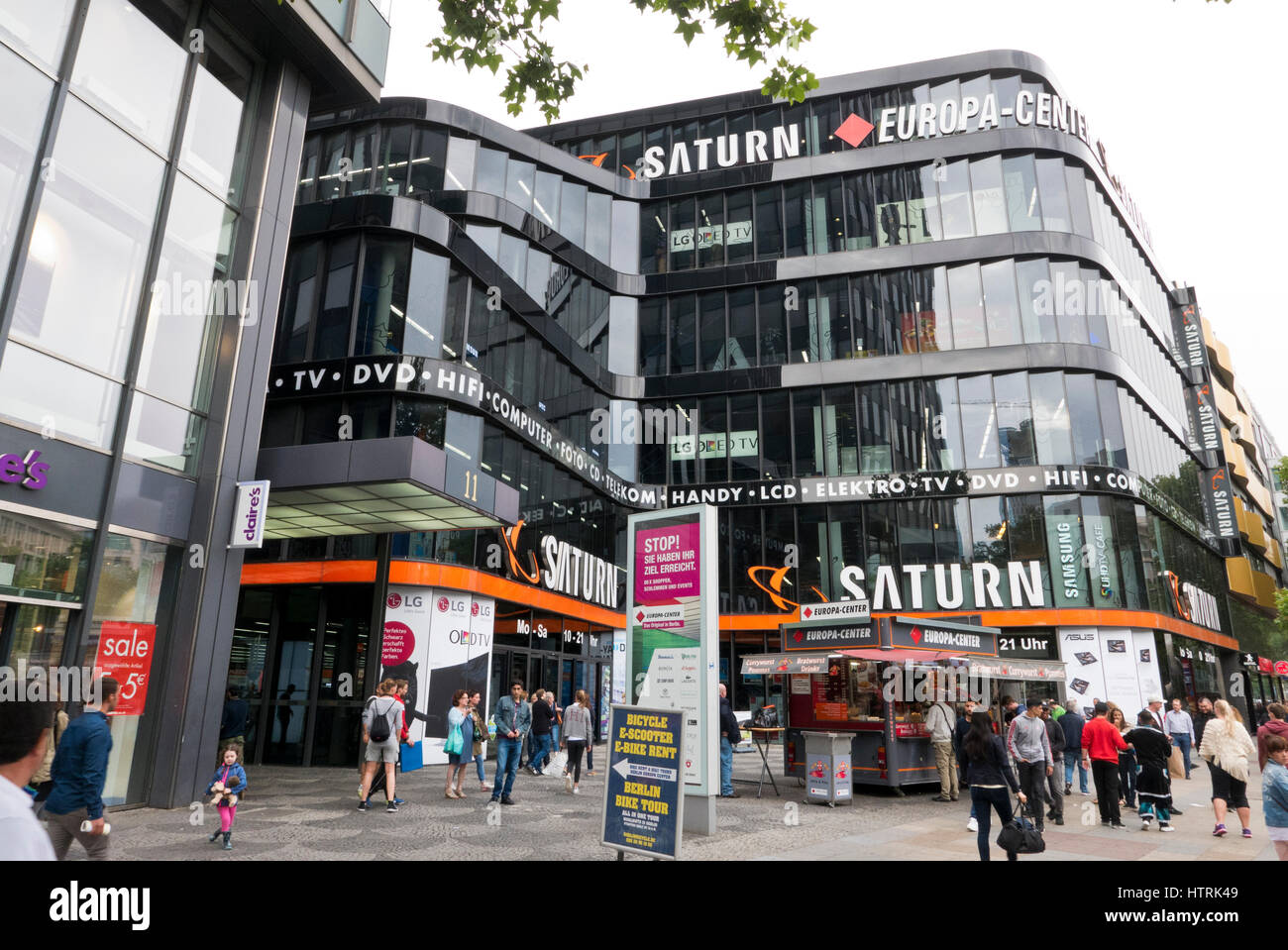 the exterior of the europa center with the saturn logo berlin stock photo royalty free image. Black Bedroom Furniture Sets. Home Design Ideas