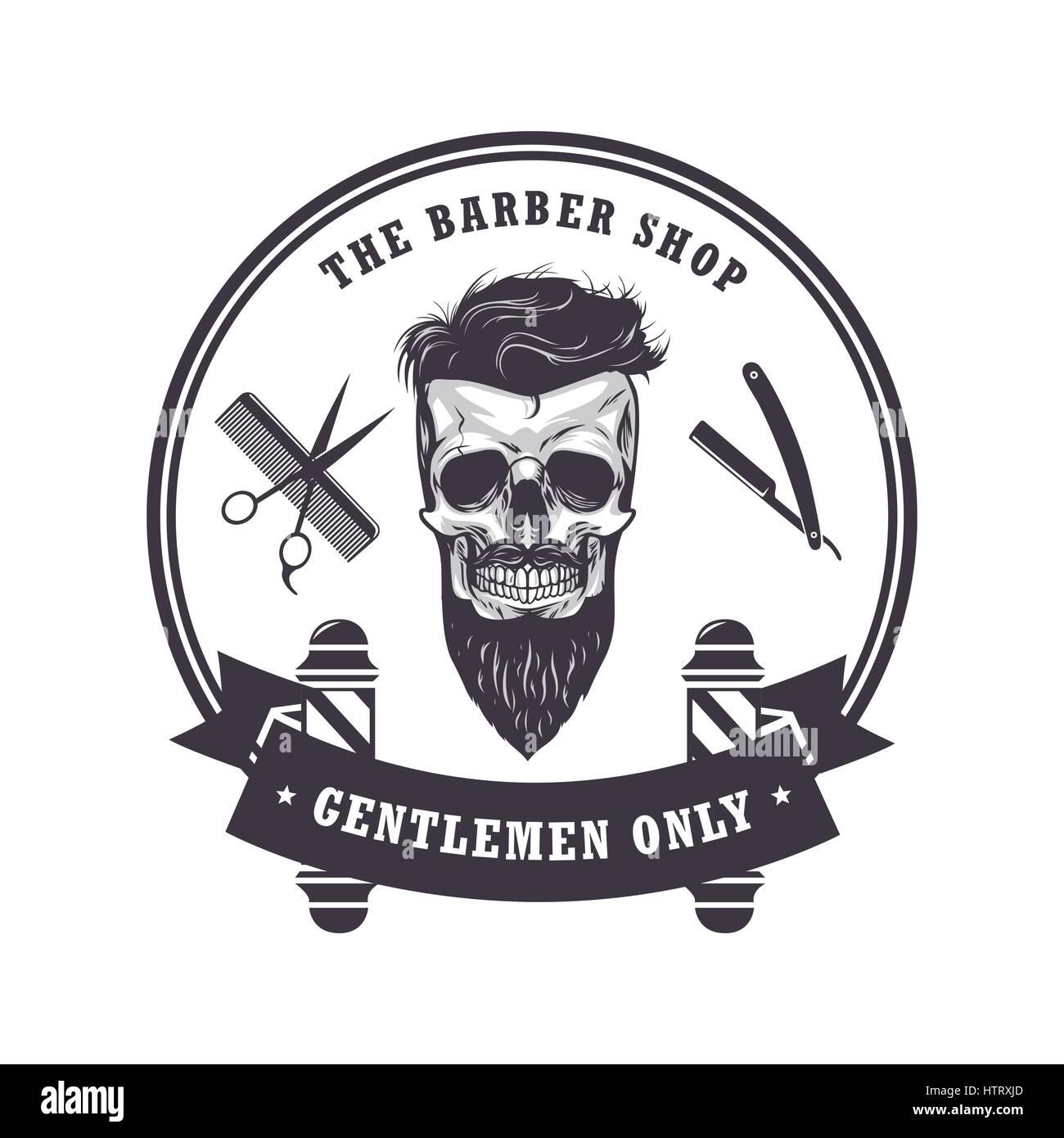 Clip art vector of vintage barber shop logo graphics and icon vector - Skull Barber Shop Logo Retro Vintage Design Template Vector Illustration