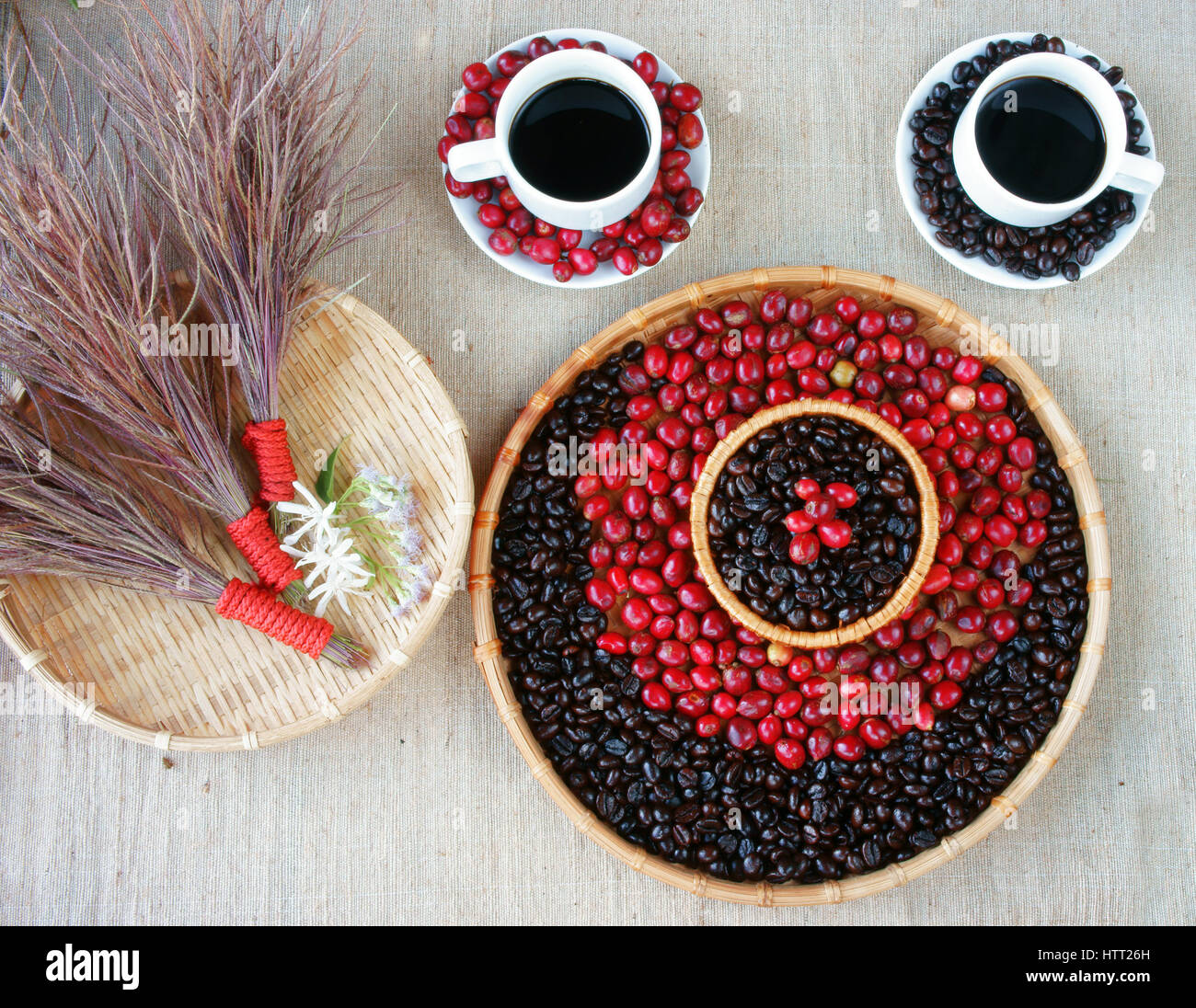 harmony creative for decor from coffee bean cup of black cafe ripe berries basket of roasted cafe bean white flower set up on sackcloth backgro - Black Cafe Decor