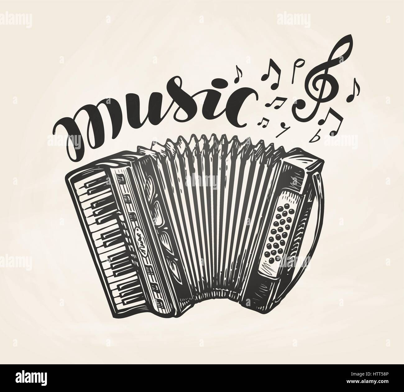 Hand drawn classic accordion vintage musical instrument music vintage musical instrument music symbol vector illustration buycottarizona Gallery