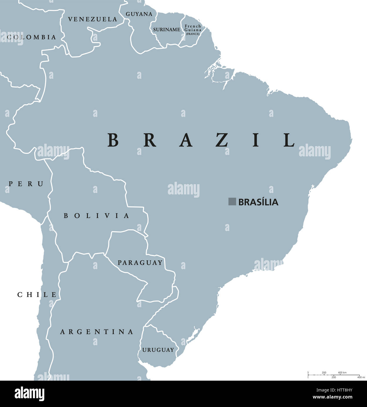 Brazil Political Map With Capital Brasilia National Borders And - Brazil political map