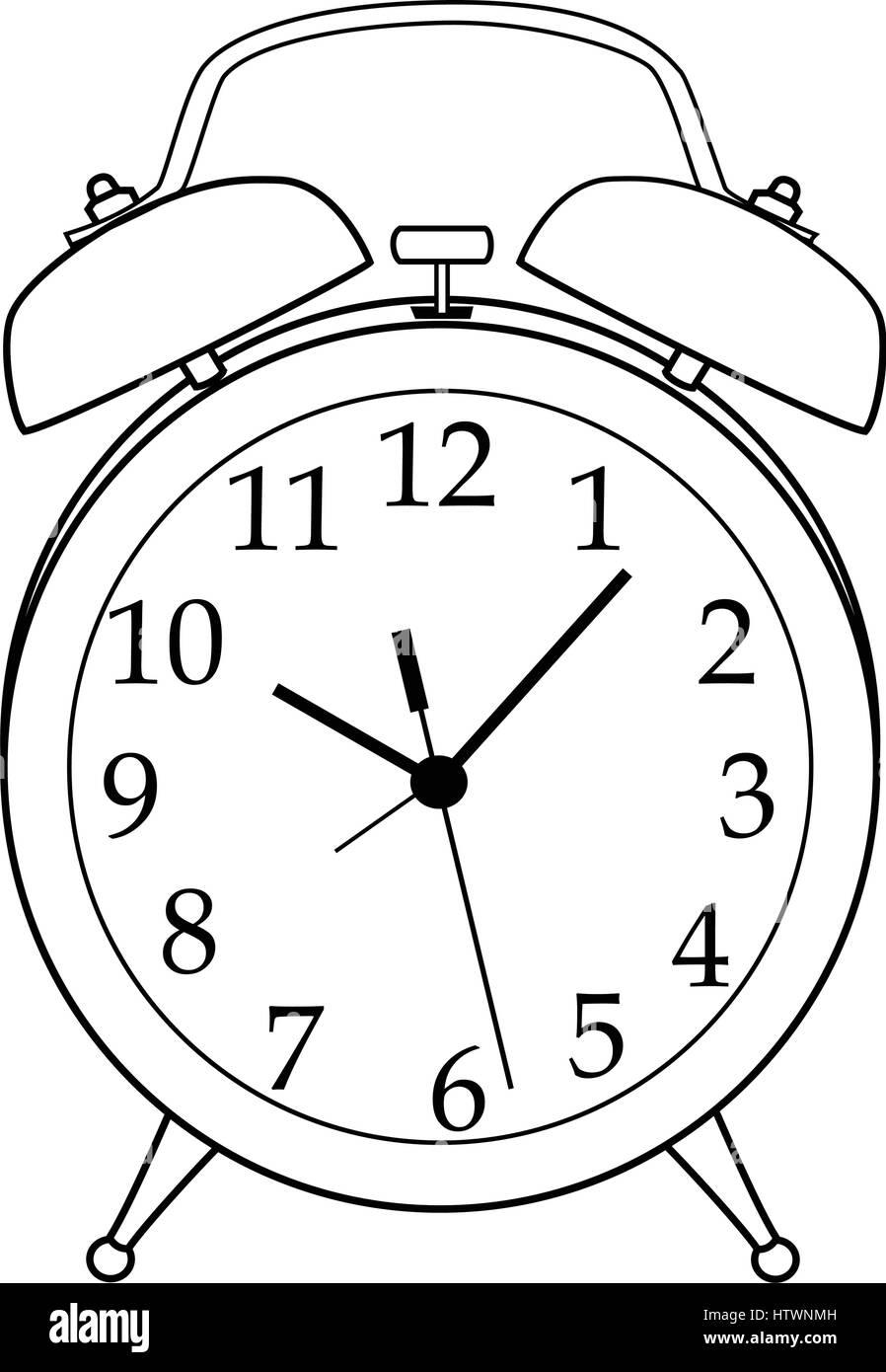 Illustration of Isolated Black and White Cartoon Alarm ...