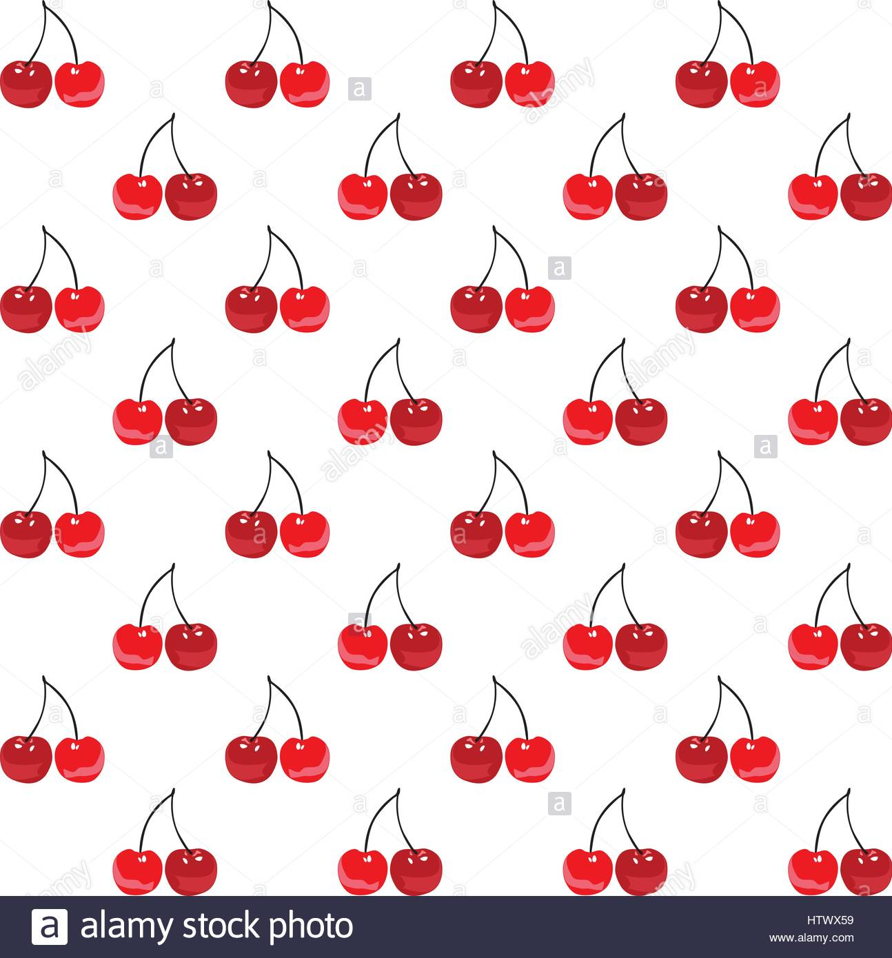 seamless red cherries mod rockabilly fashion print