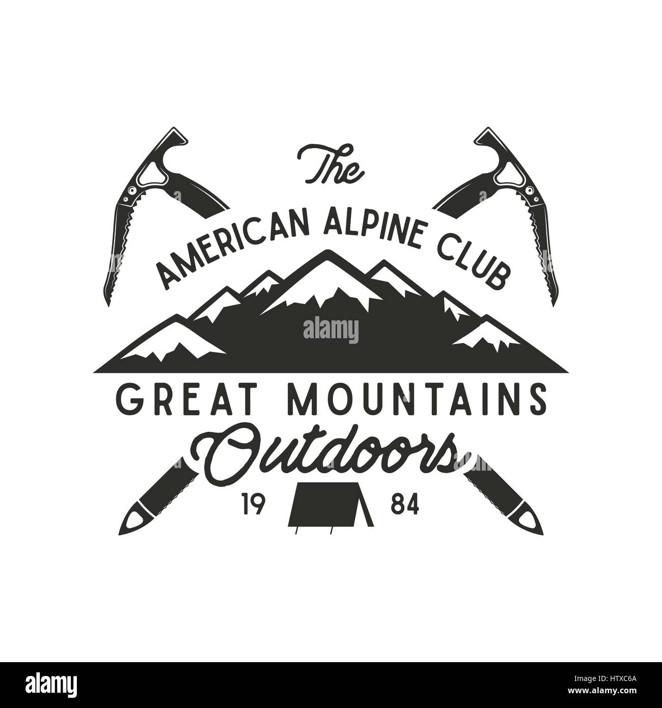 Design t shirt label - Climbing T Shirt Design Hand Drawn Vintage Alpine Label With Texts Silhouett Mountain