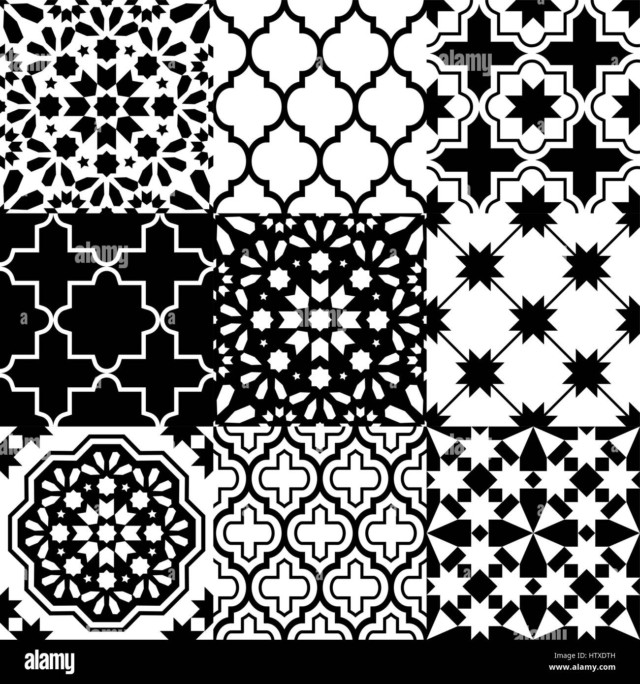 Vector of moroccan tile seamless pattern tile for design tile - Moroccan Tiles Design Seamless Black Pattern Collections