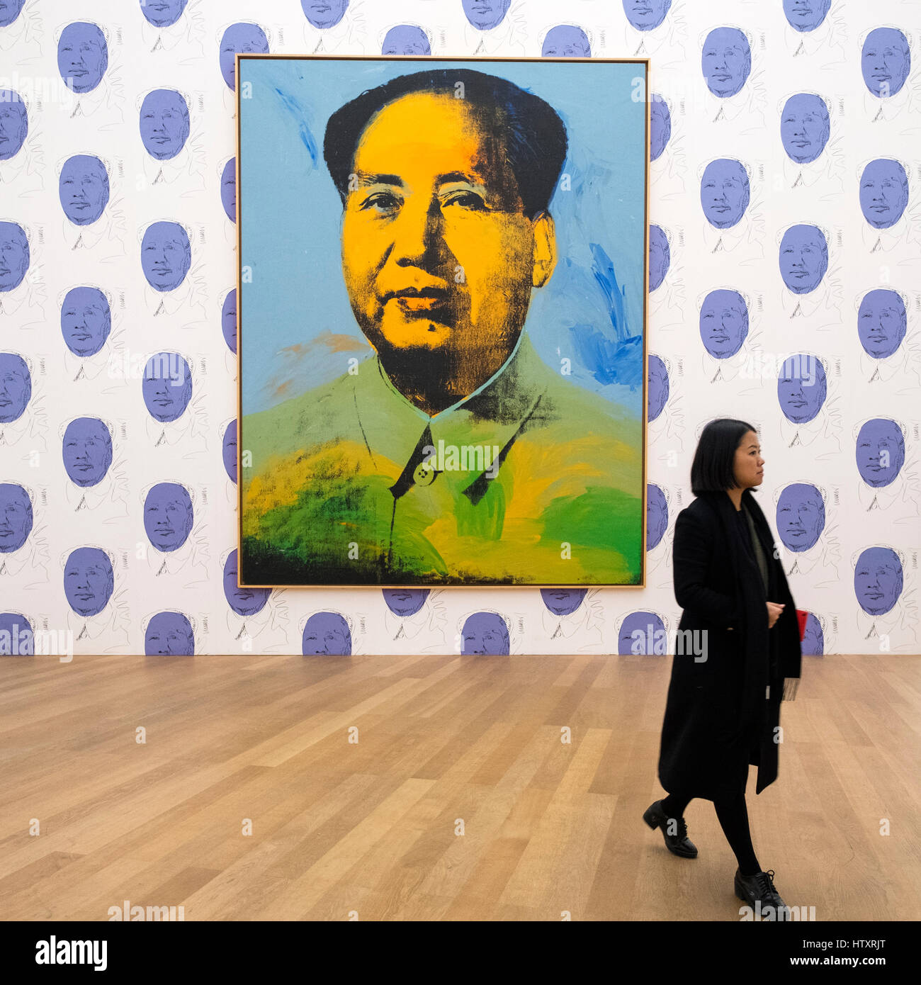 New york usa 11th nov 2015 telephone bidders stand in front of the - Mao By Andy Warhol At Hamburger Bahnhof Modern Art Museum In Berlin Germany Stock