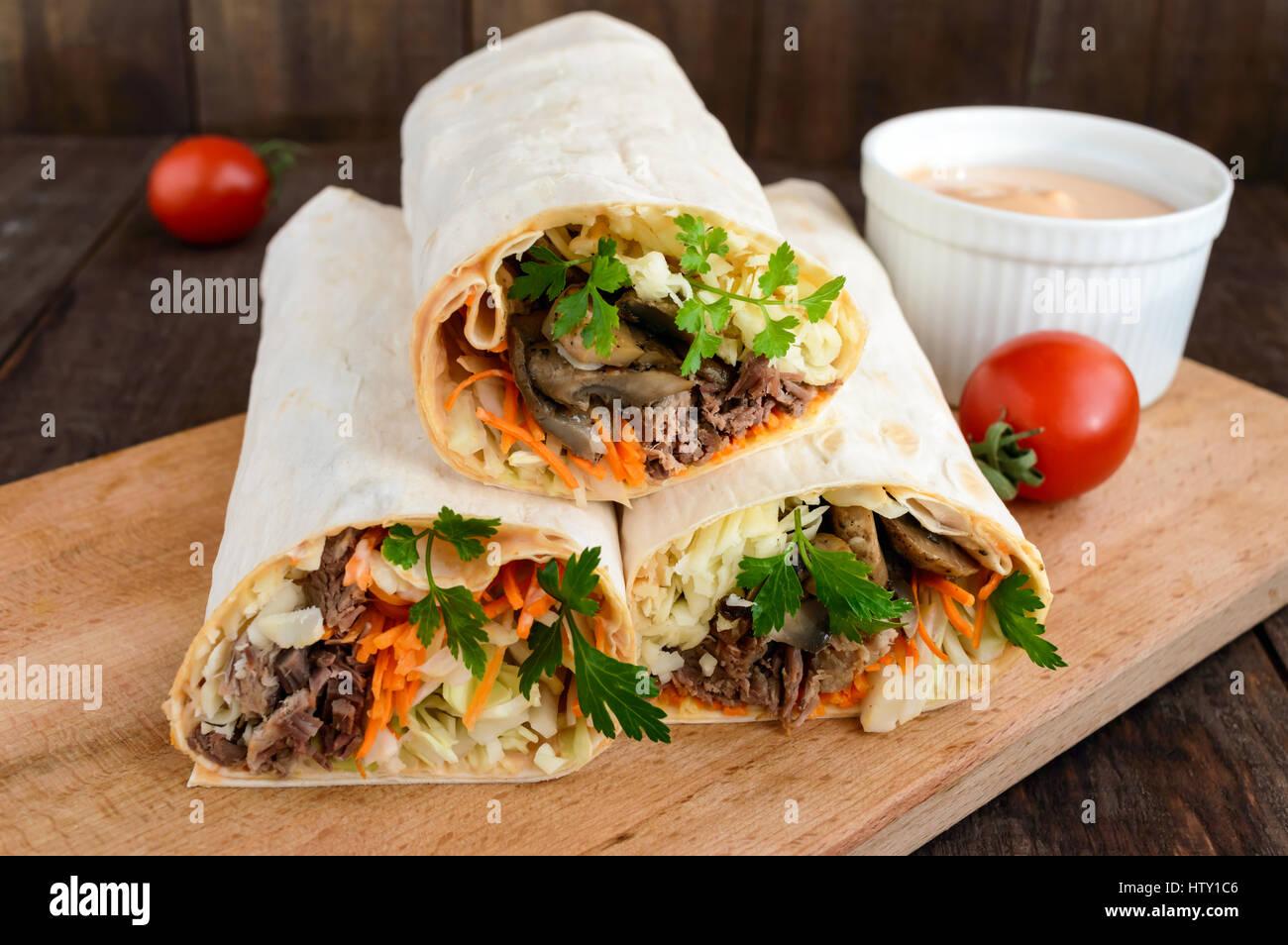 shawarma sandwich fresh roll of thin lavash pita bread