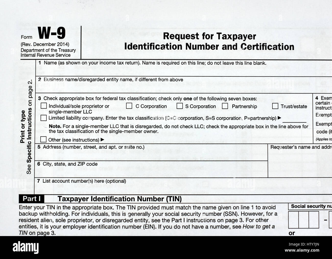 Stock Photo   W 9 USA Federal Tax Form