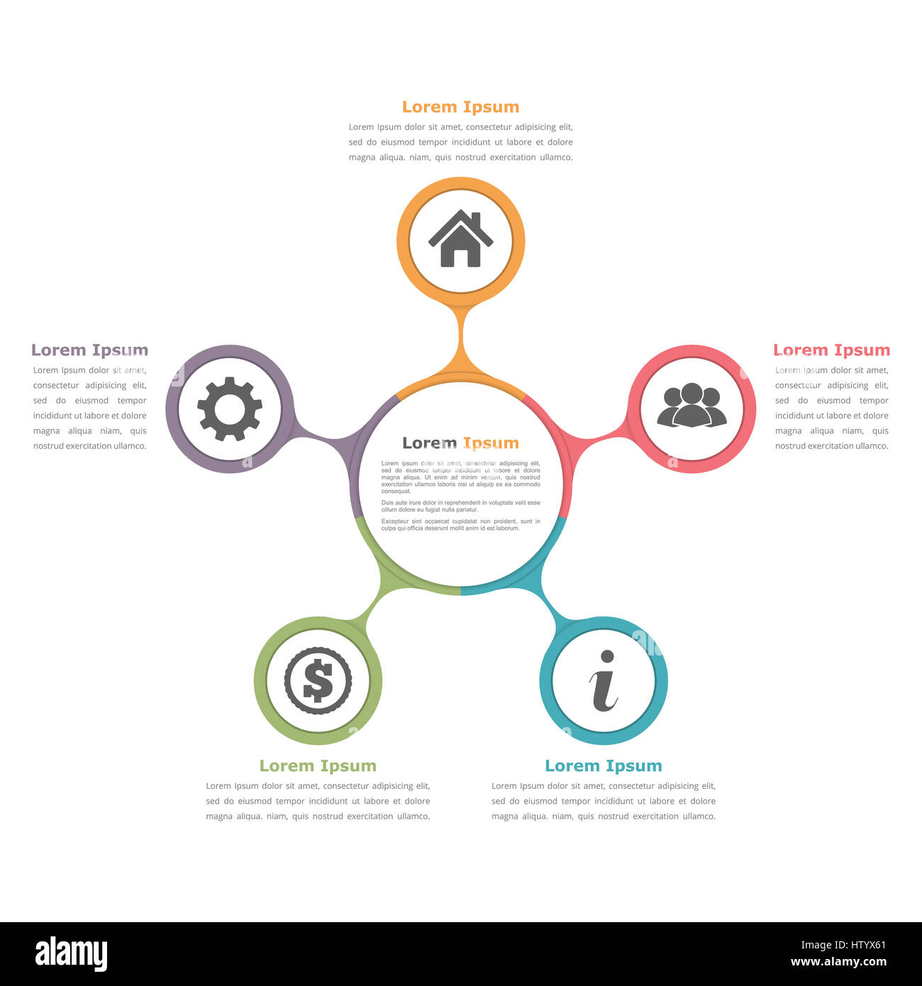 Circle diagram with five elements with icons and text flow chart circle diagram with five elements with icons and text flow chart template business infographics pooptronica