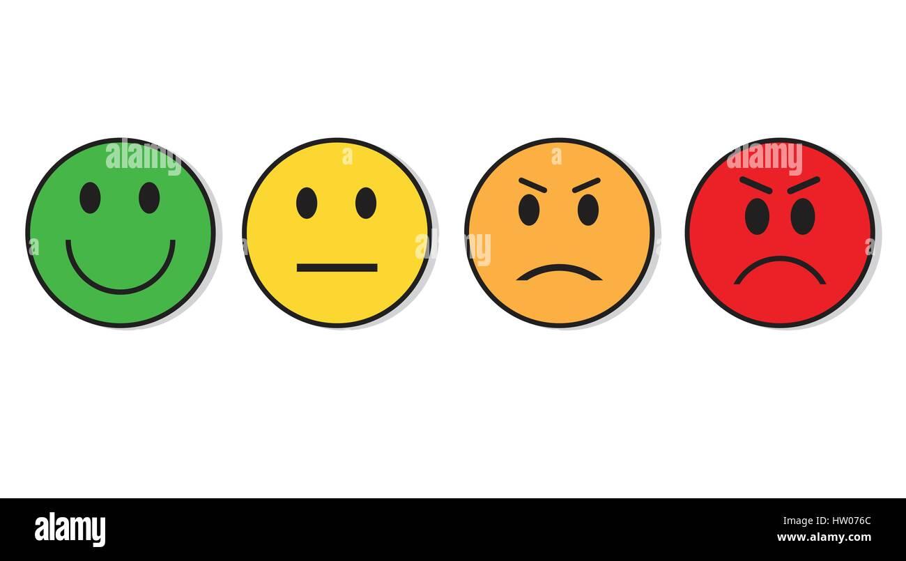 Smiling Evaluation Positive And Negative Feedback Emotion Icon Emoticon Faces Happy Sad Stock