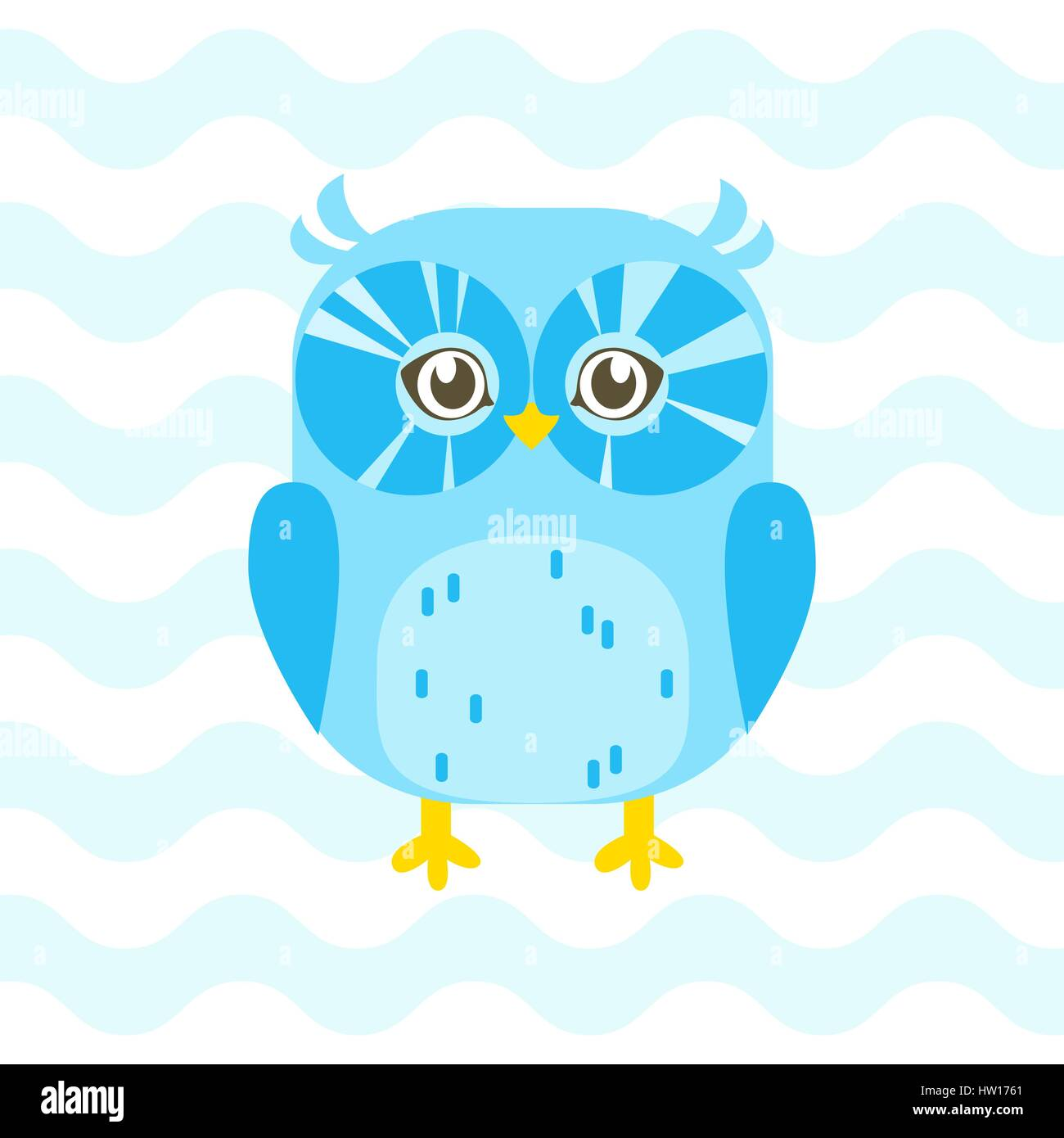 Baby shower illustration with cute blue baby owl on blue baby shower illustration with cute blue baby owl on blue background suitable for baby shower invitation card postcard and nursery wall stopboris Choice Image