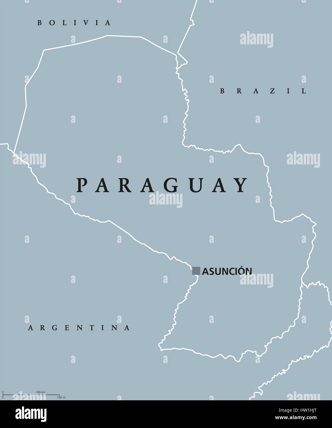 Paraguay Political Map With Capital Asuncion National Borders And - Maps of south america with capitals and countries