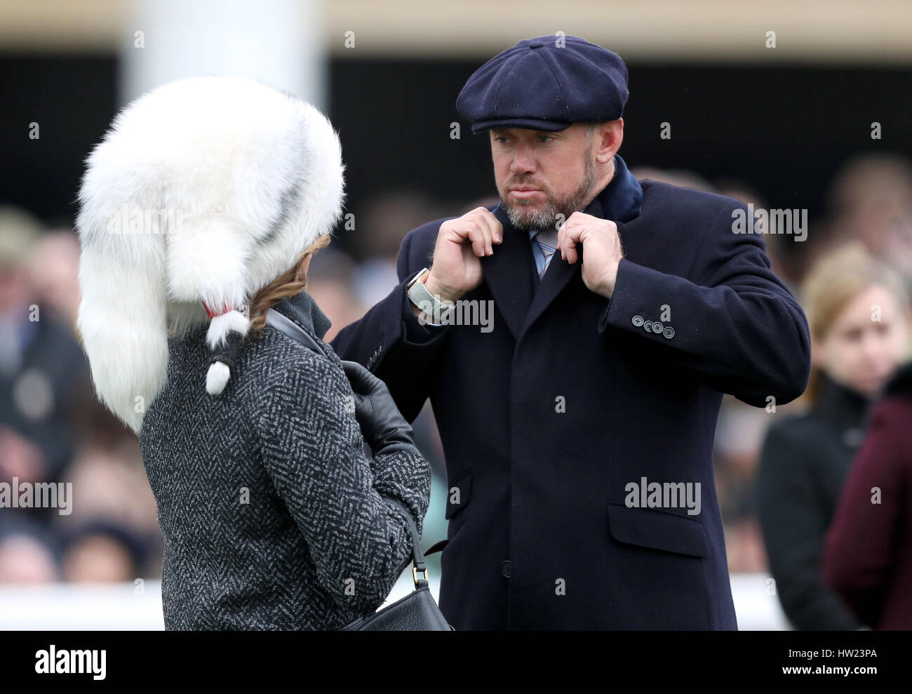 Golfer lee westwood and helen storey during st patrick s thursday of the 2017 cheltenham festival at