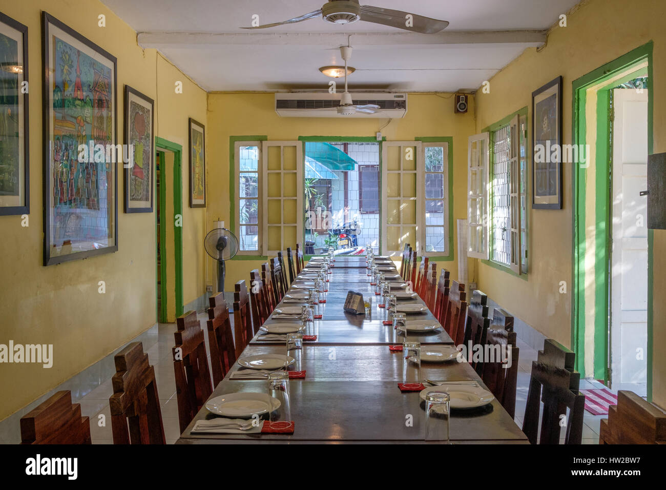 Colonial Style Interior french colonial style interior in vientiane, laos stock photo