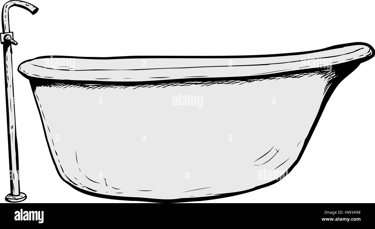 bathtub cartoon. Side view on cartoon luxury bathtub with faucet Stock Photo