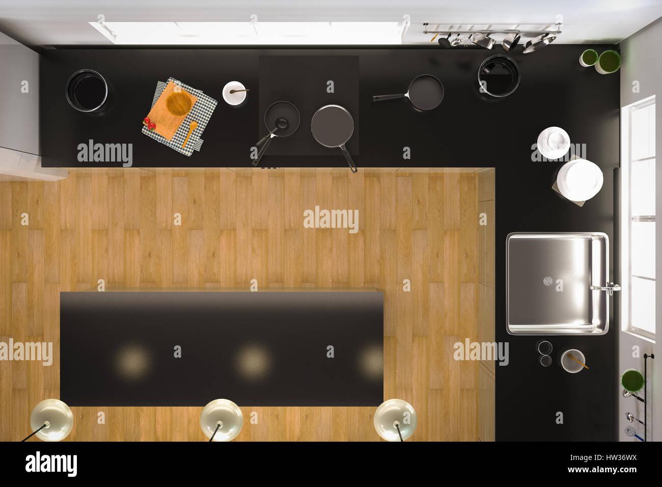Kitchen Top View : D rendering kitchen interior top view with wooden floor