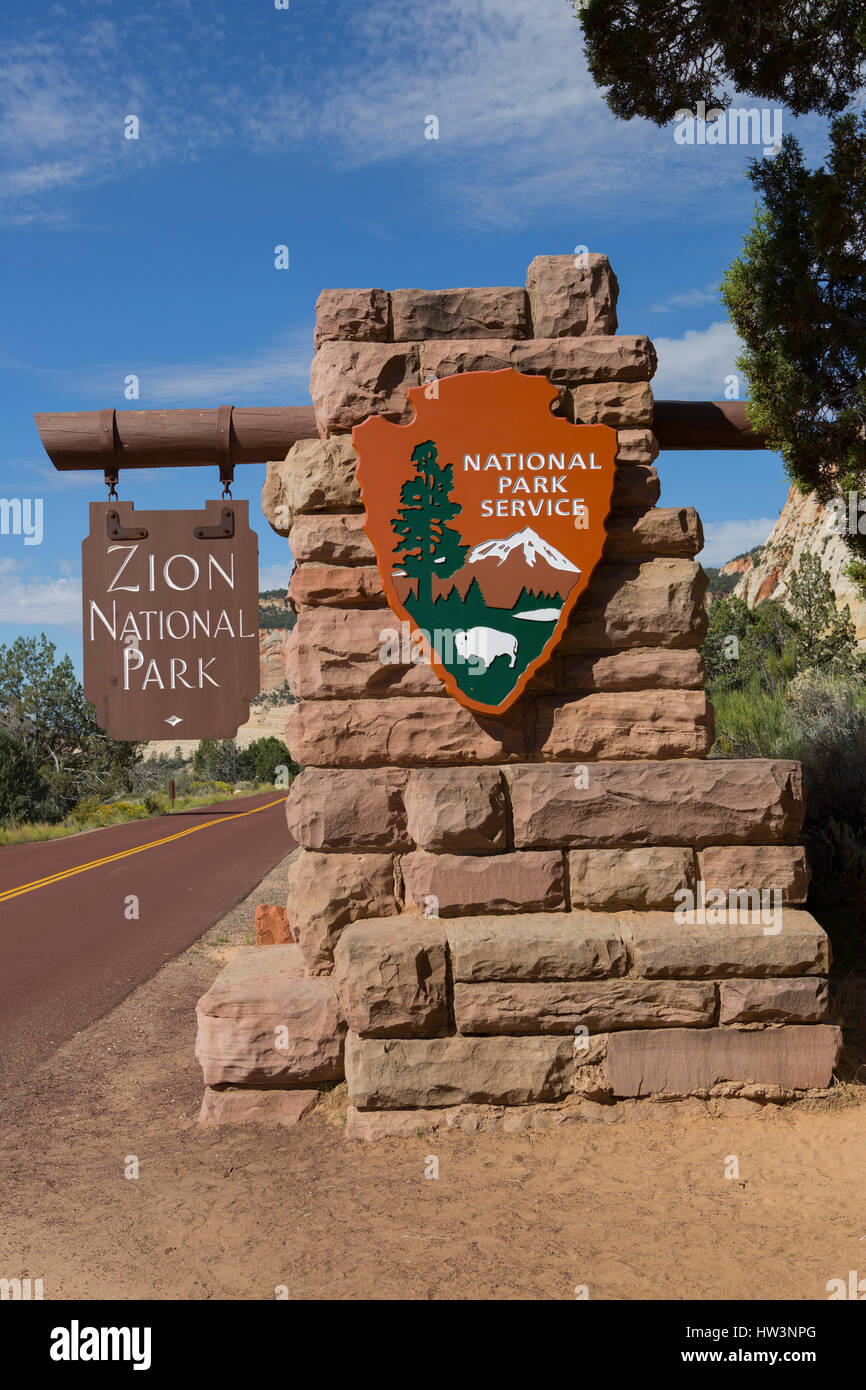 Zion National Park Sign Zion National Park UT USA Stock Photo - Ut usa
