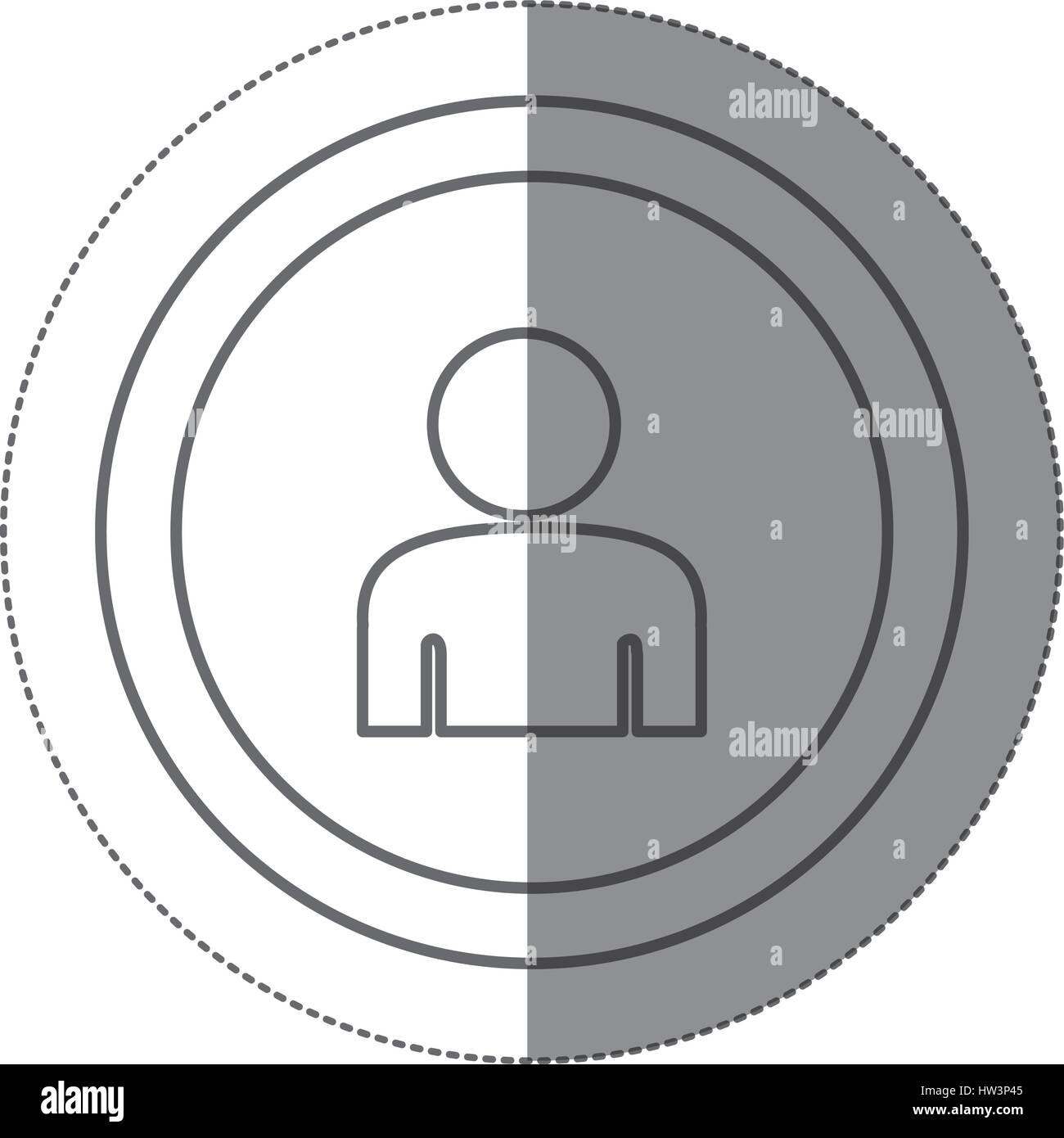 sticker silhouette circular frame with silhouette half body figure ...