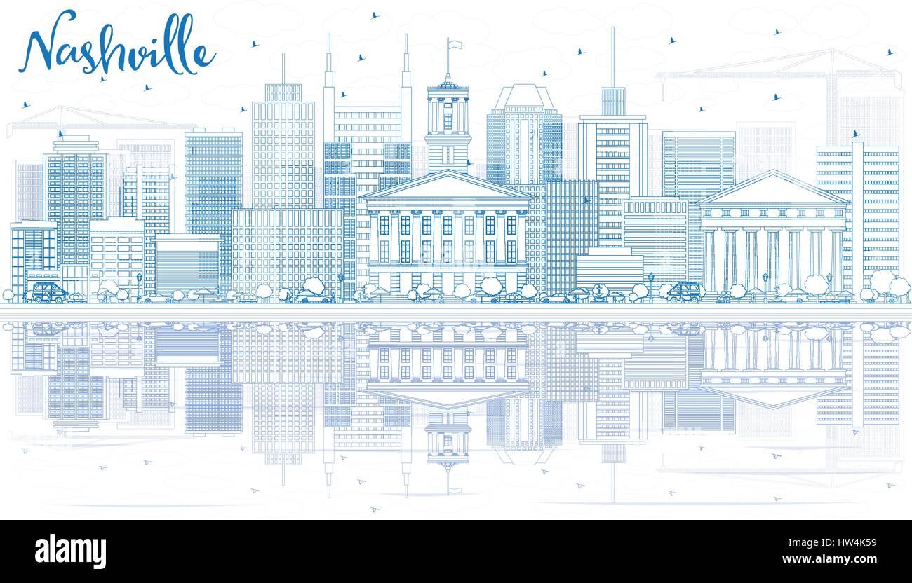 Modern Architecture Nashville outline nashville skyline with blue buildings and reflections
