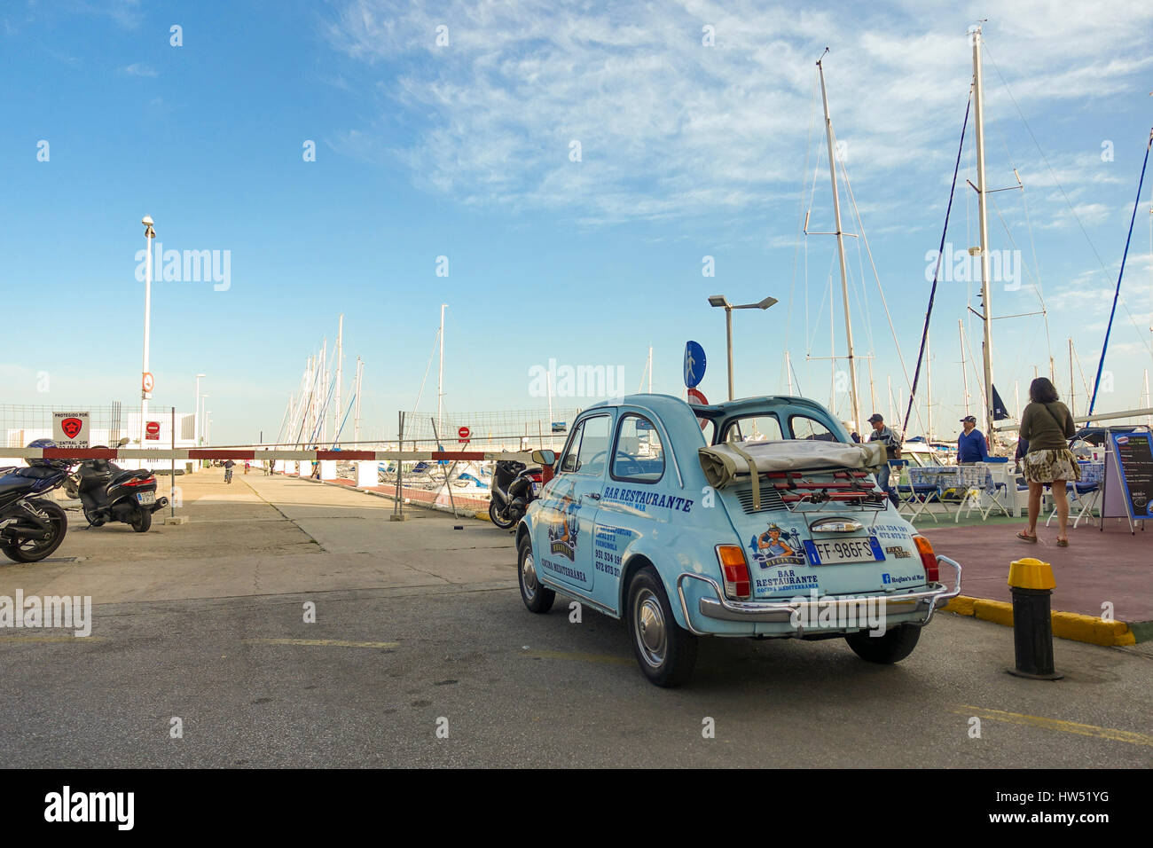 Fiat Parked As Restaurant Promotion In Port Of Fuengirola - Fiat promotion