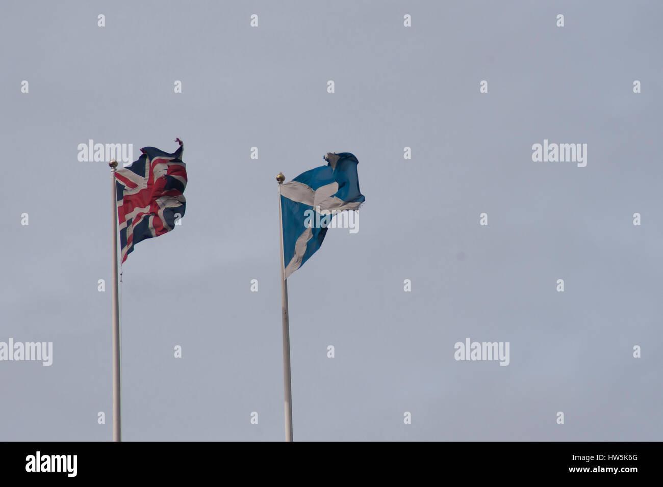 london uk 17th mar 2017 union flag flies near the scottish