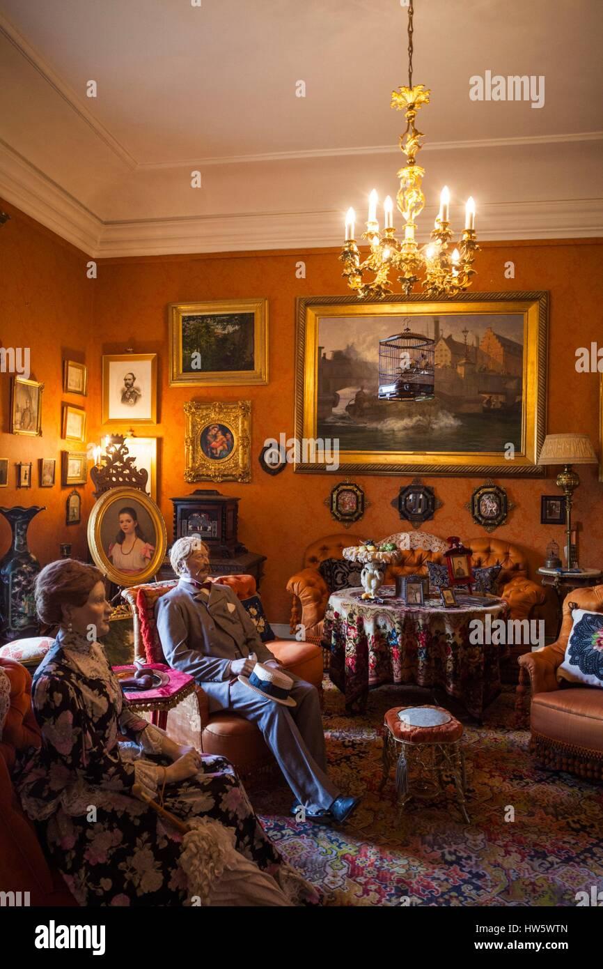 denmark, funen, egeskov, egeskov castle, castle interior stock