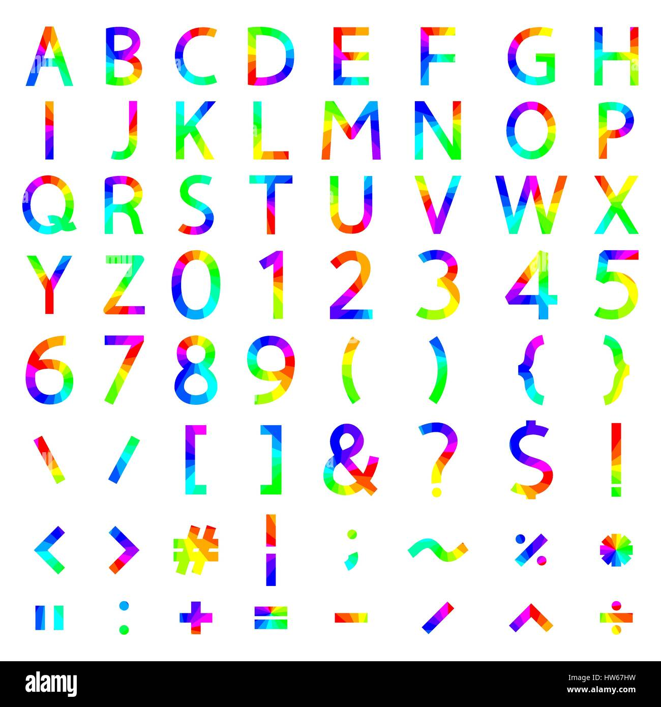 Set of rainbow elements the alphabet and numbers symbols stock set of rainbow elements the alphabet and numbers symbols mathematical operations with square corners vector illustration biocorpaavc Choice Image