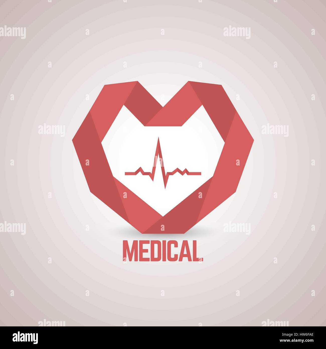 Logo design template with a red paper heart to the medical center ...