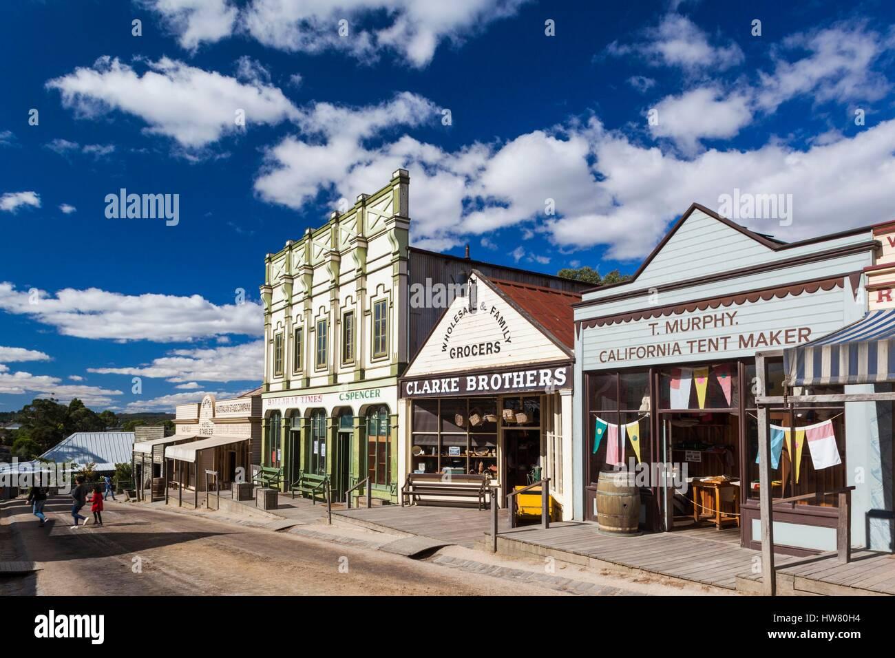 Australia Victoria Ballarat Sovereign Hill recreated 1860s-era gold mining township town view & Australia Victoria Ballarat Sovereign Hill recreated 1860s-era ...
