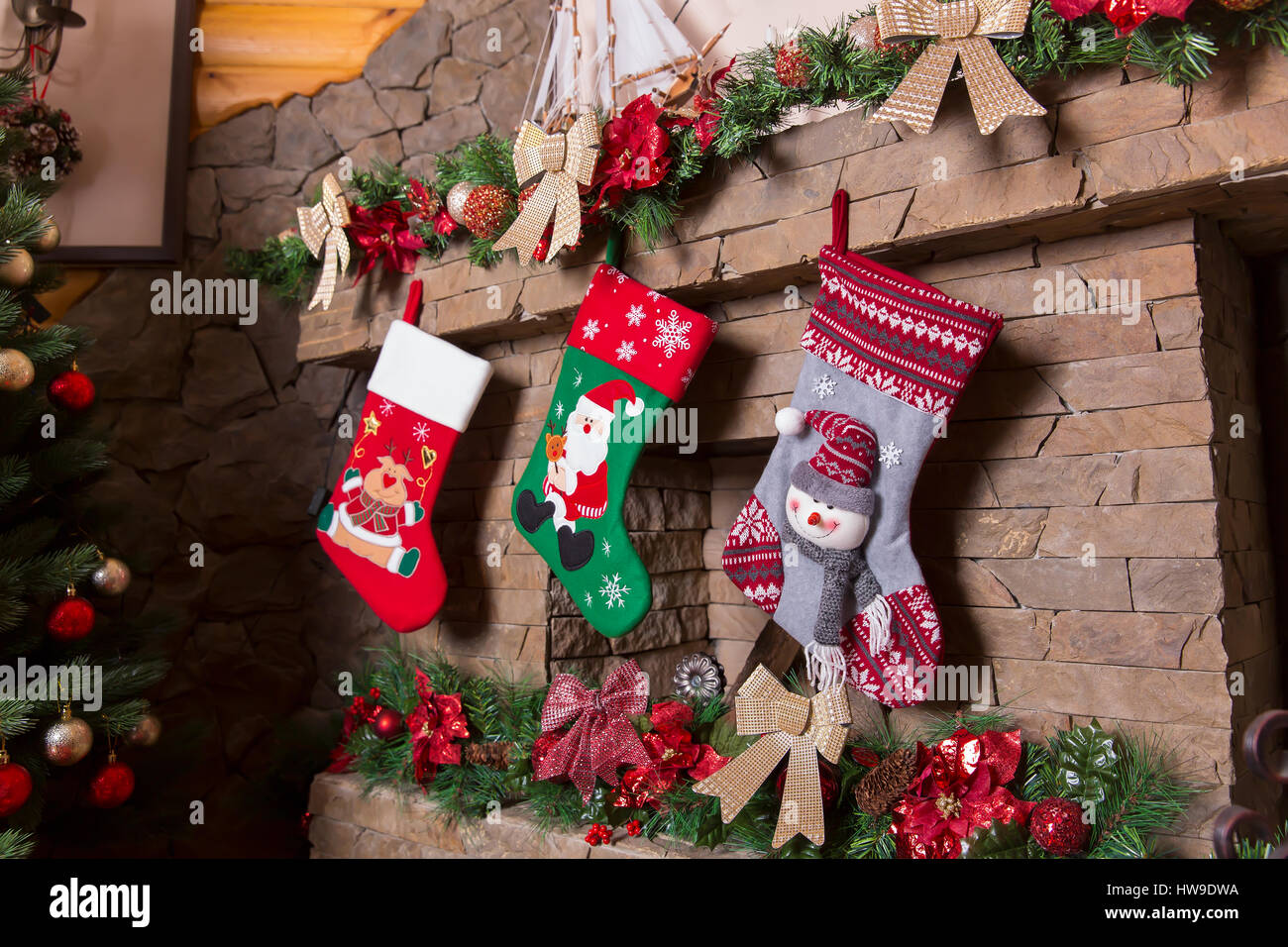 Stone Fireplace Decorated With Christmas Stockings Xmas