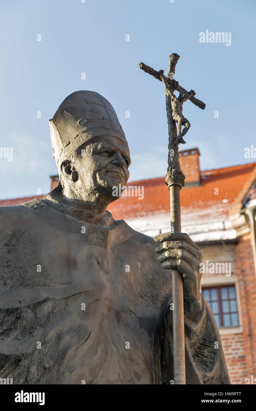 Statue of pope john paul ii blessed john paul or john paul the statue of pope john paul ii blessed john paul or john paul the great papa giovanni paolo ii karol jozef wojtyla on wawel in krakow poland buycottarizona Choice Image