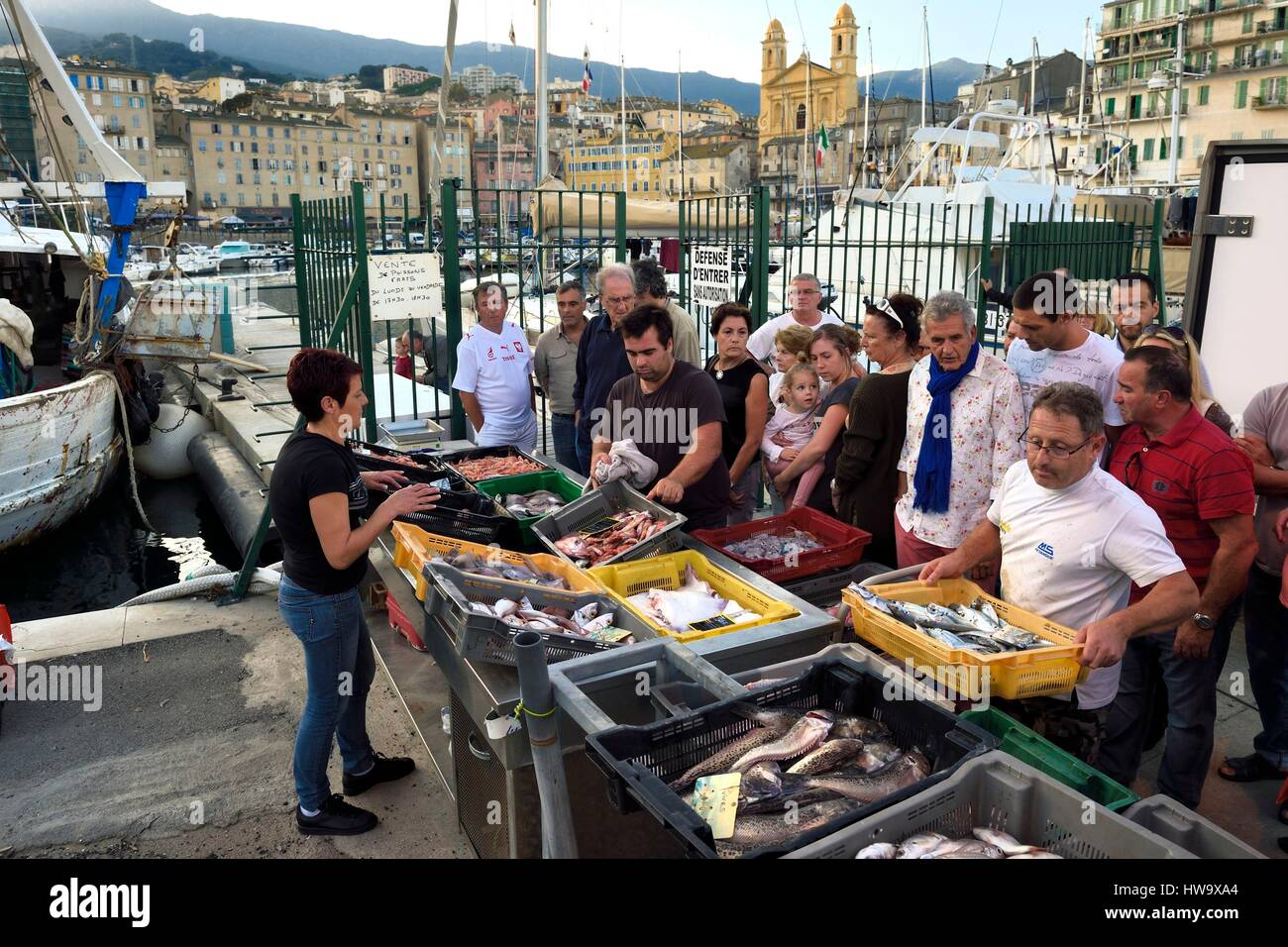 Cafe in the vieux port terra vecchia bastia corsica france stock - France Haute Corse Bastia Terra Vecchia District The Harbour Overlooked By St Jean Baptiste Church Direct Fish Selling On The Dock After The Retu