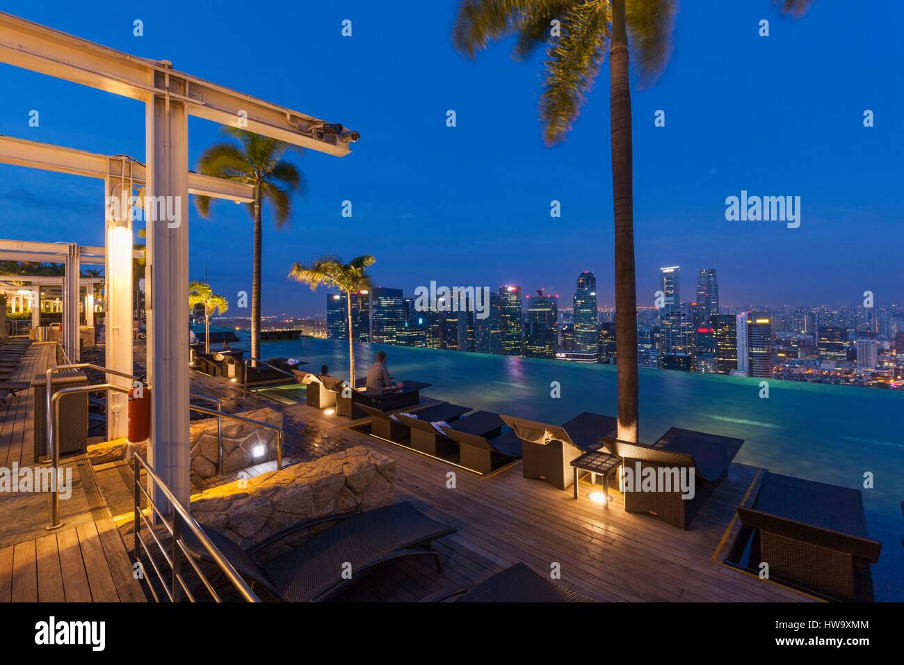 Singapore Marina Bay Sands Hotel Rooftop Swimming Pool Dawn Stock Photo Royalty Free Image