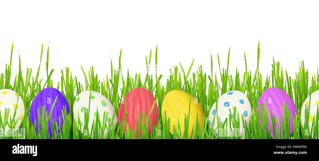 Easter Eggs And Grass Border On White Background Seamless Pattern