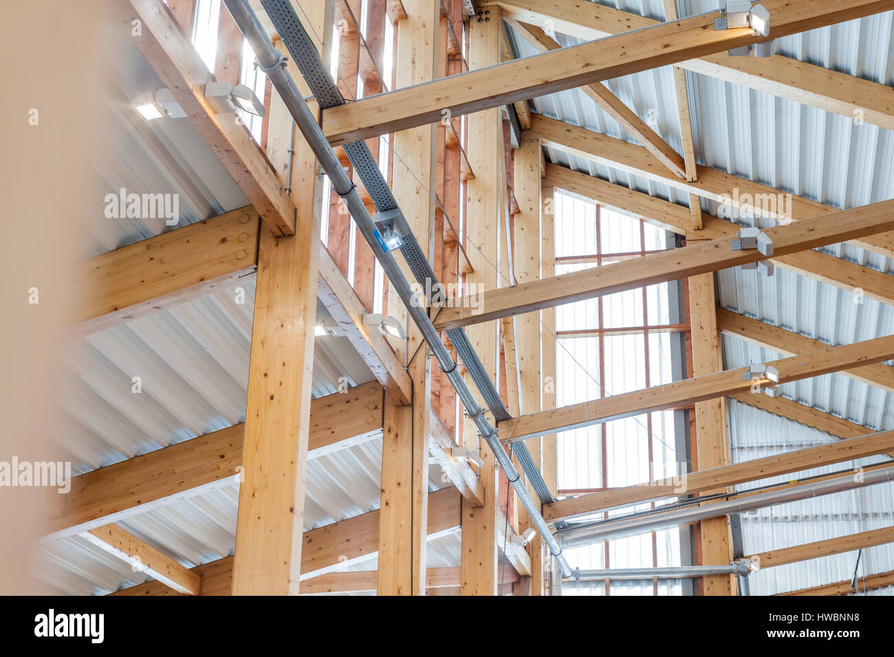 Roof Rafters In The New Construction Of A Wooden Building Or House