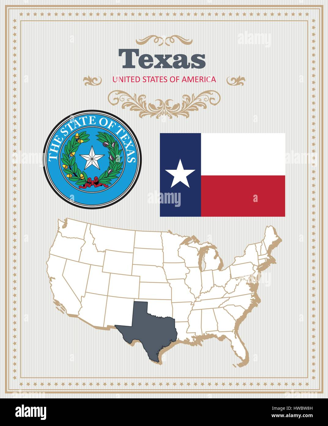 High Detailed Vector Set With Flag Coat Of Arms Map Of Texas - Us map texas vector