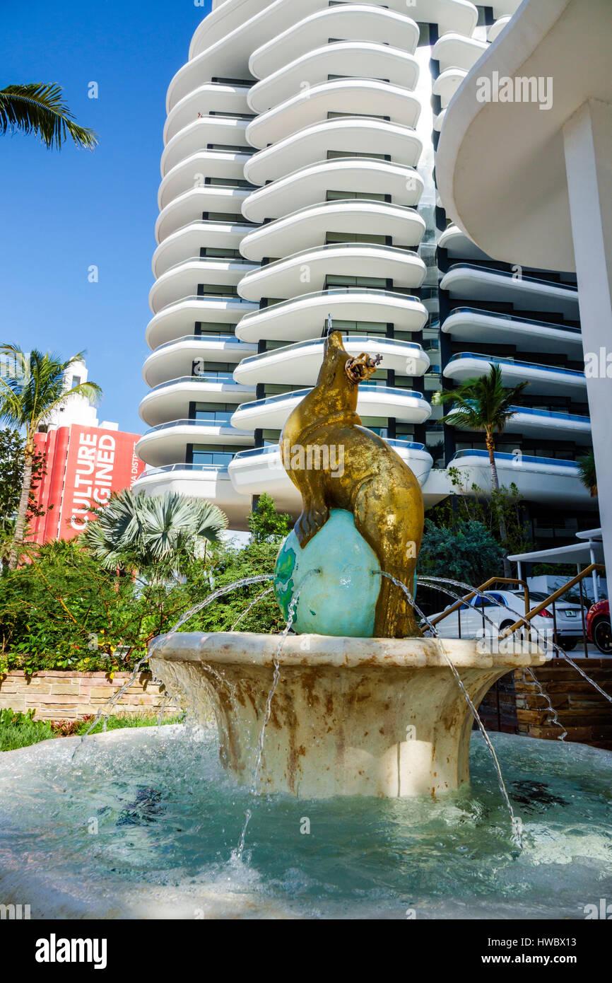 Miami beach florida faena district collins avenue faena hotel faena house hotel condominium residences building exterior fountain seal luxury 5 star