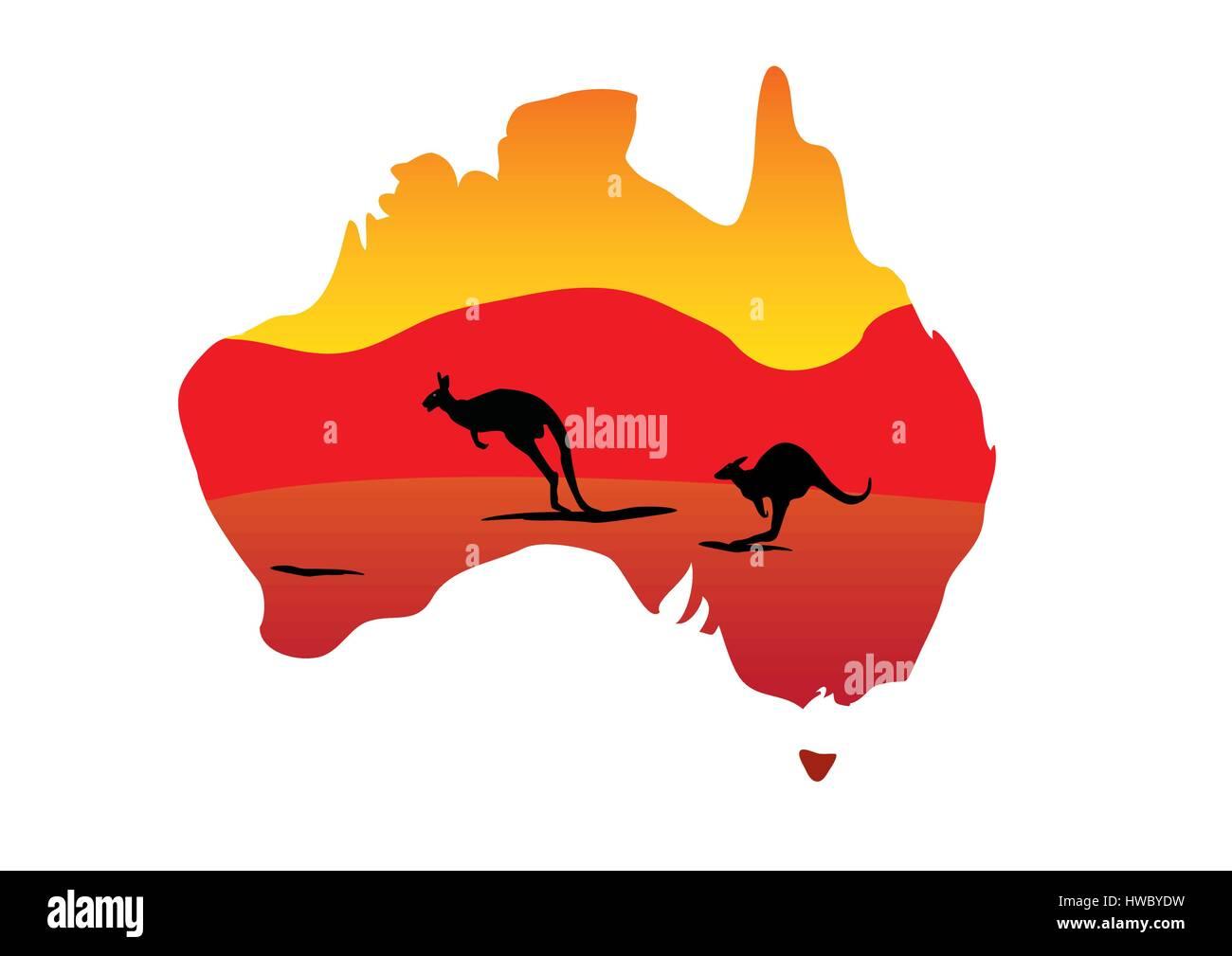 Australia Map And Two Hopping Kangaroo On White Background Stock - Australia map kangaroo
