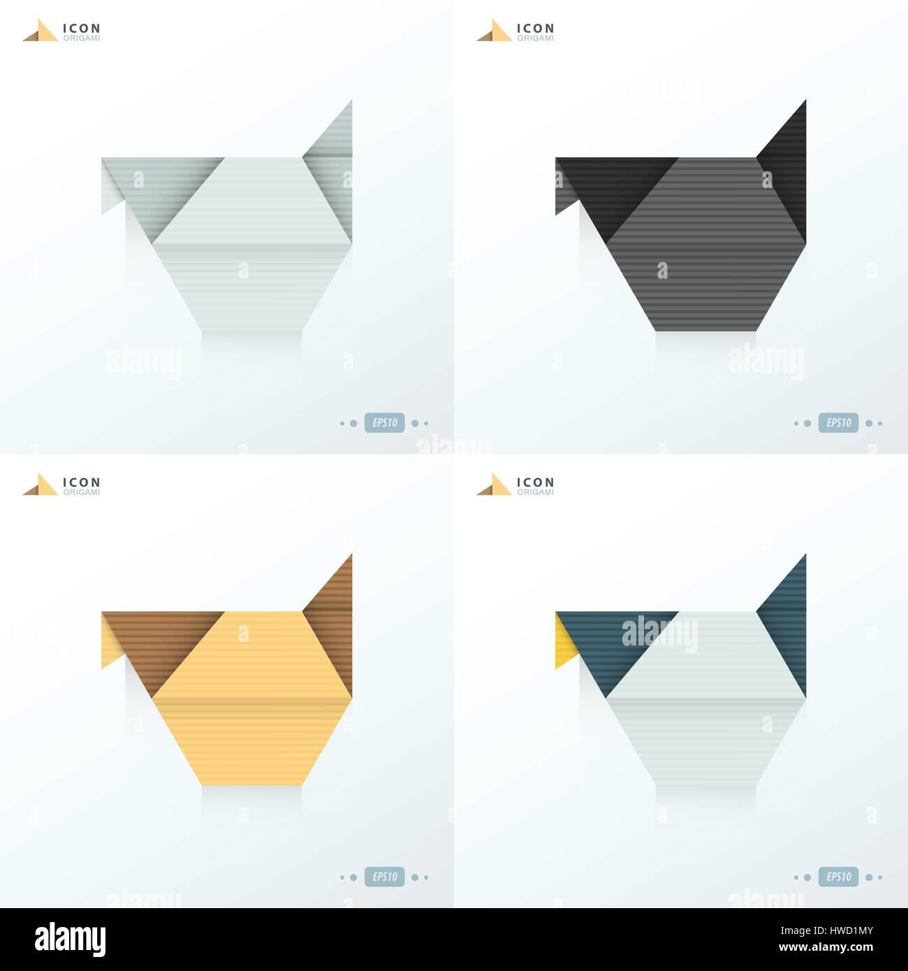 Chicken icon origami set stock vector art illustration vector chicken icon origami set pooptronica