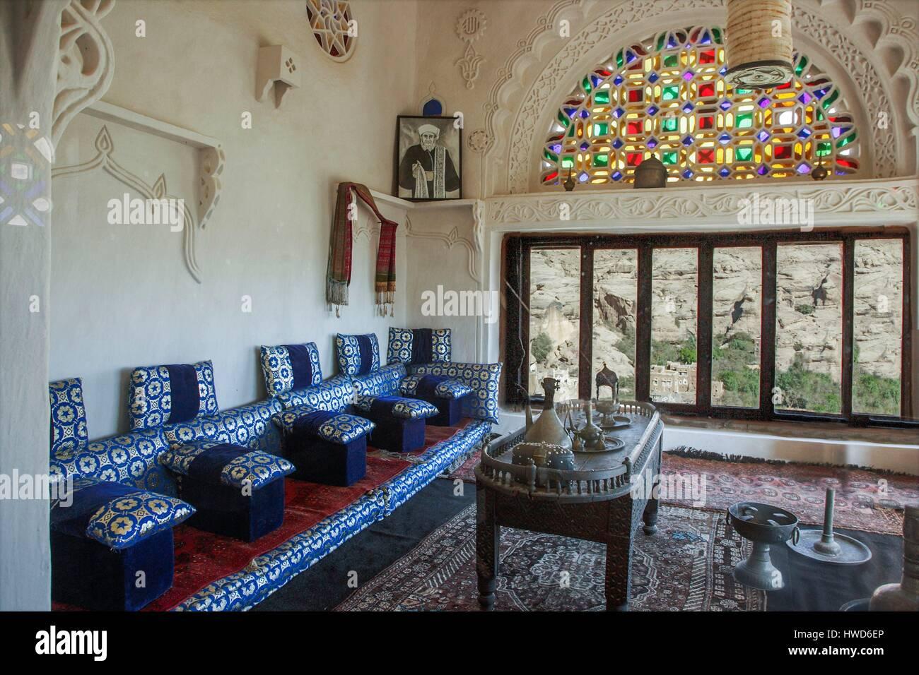 Yemen A Mafraj Living Room In The Dhar Al Hajjar Wadi