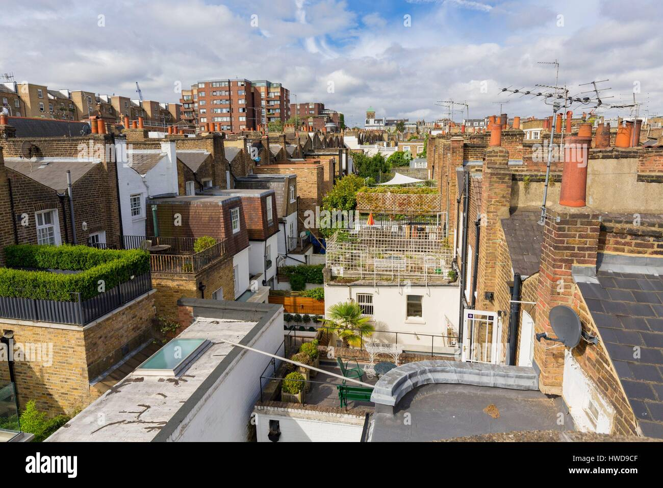 Stock Photo - United Kingdom London Kensington district close to Notting Hill roofs townhouses with outdoor patios upstairs & United Kingdom London Kensington district close to Notting Hill ... memphite.com