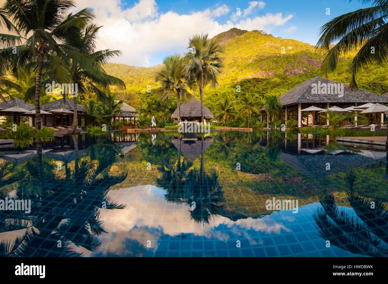 seychelles silhouette island hilton seychelles labriz resort spa stock photo 136133695 alamy. Black Bedroom Furniture Sets. Home Design Ideas