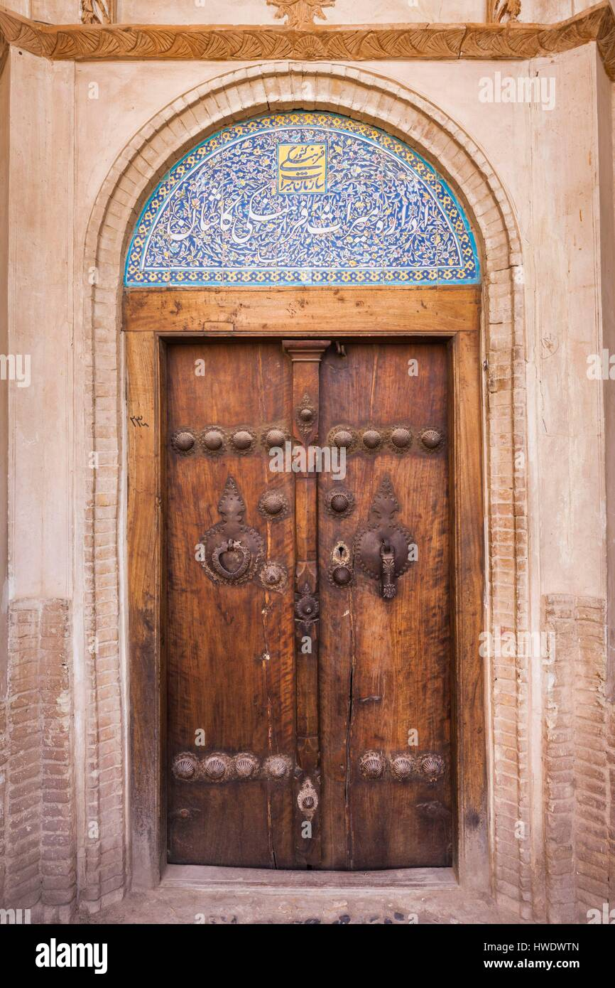 Iran Central Iran Kashan Khan-e Boroujerdi traditional carpet merchant\u0027s house ornate door with door knockers for male and female guests & Iran Central Iran Kashan Khan-e Boroujerdi traditional carpet ...