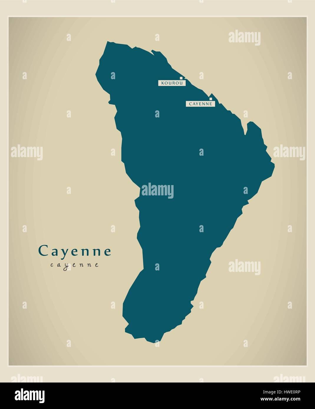 Modern Map Cayenne GF Stock Vector Art Illustration Vector