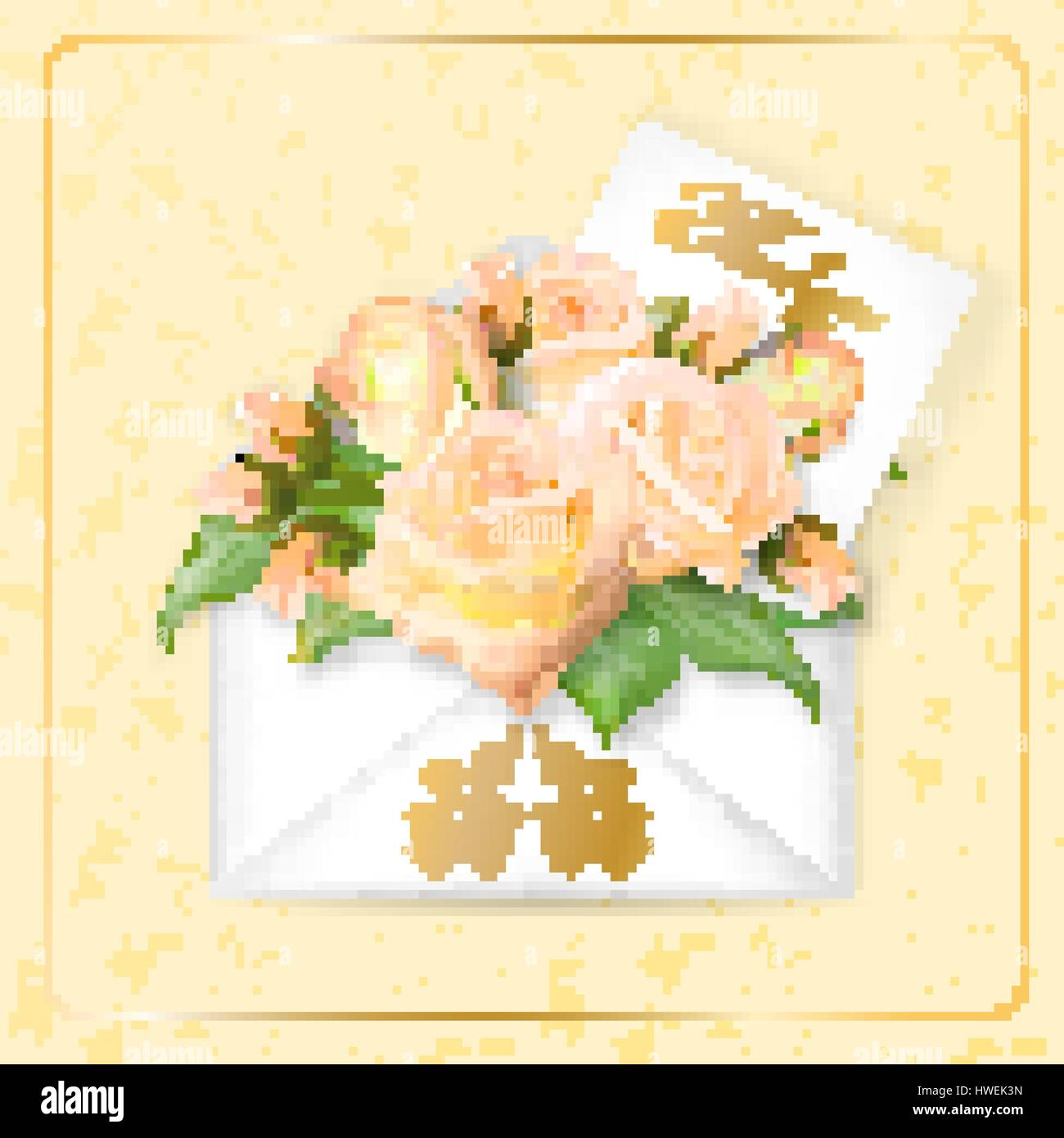 Tea roses with a note in an envelope template for greeting card tea roses with a note in an envelope template for greeting card banner an invitation mothers day card concept spring background vector the conc m4hsunfo