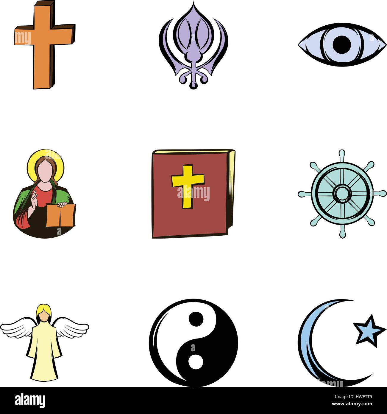 Confucian symbol vector icon stock photos confucian symbol religion symbol icons set cartoon style stock image buycottarizona