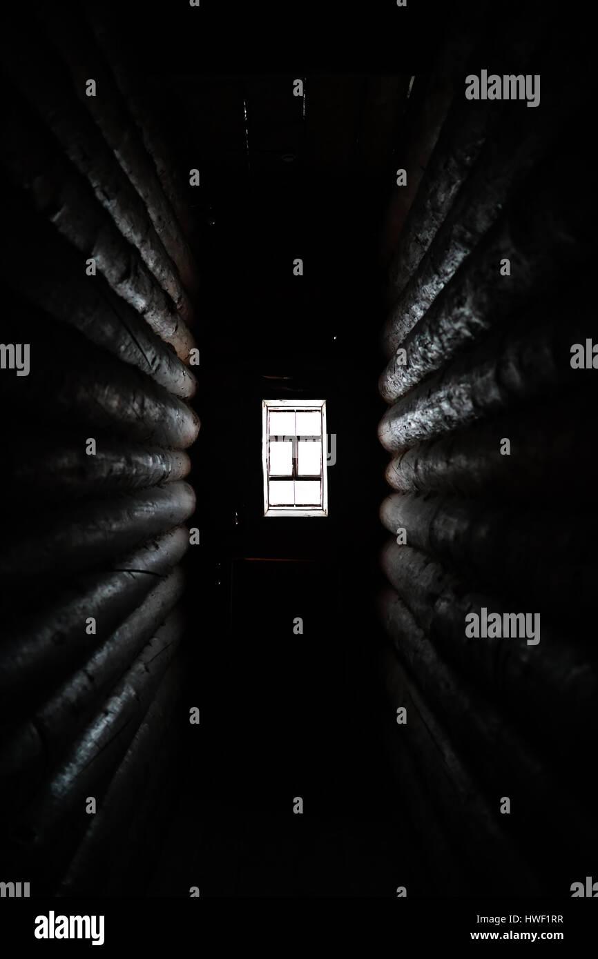 Dark room with light through window - Sunlight Coming Through The Wooden Window In Old Dark Room Stock Image