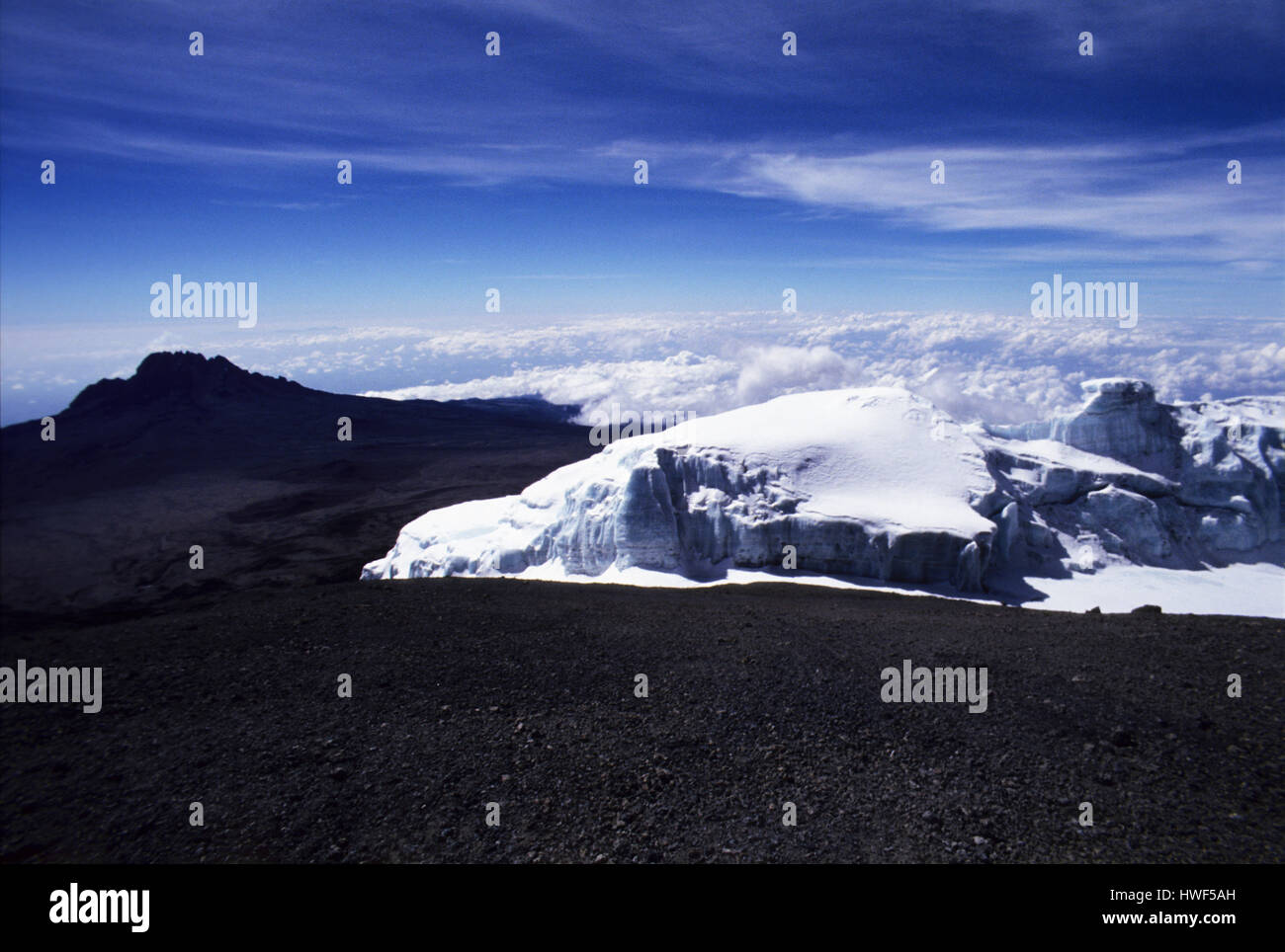 Giant Glaciers On Top Of Mount Kilimanjaro The Highest Point In - Distance above sea level